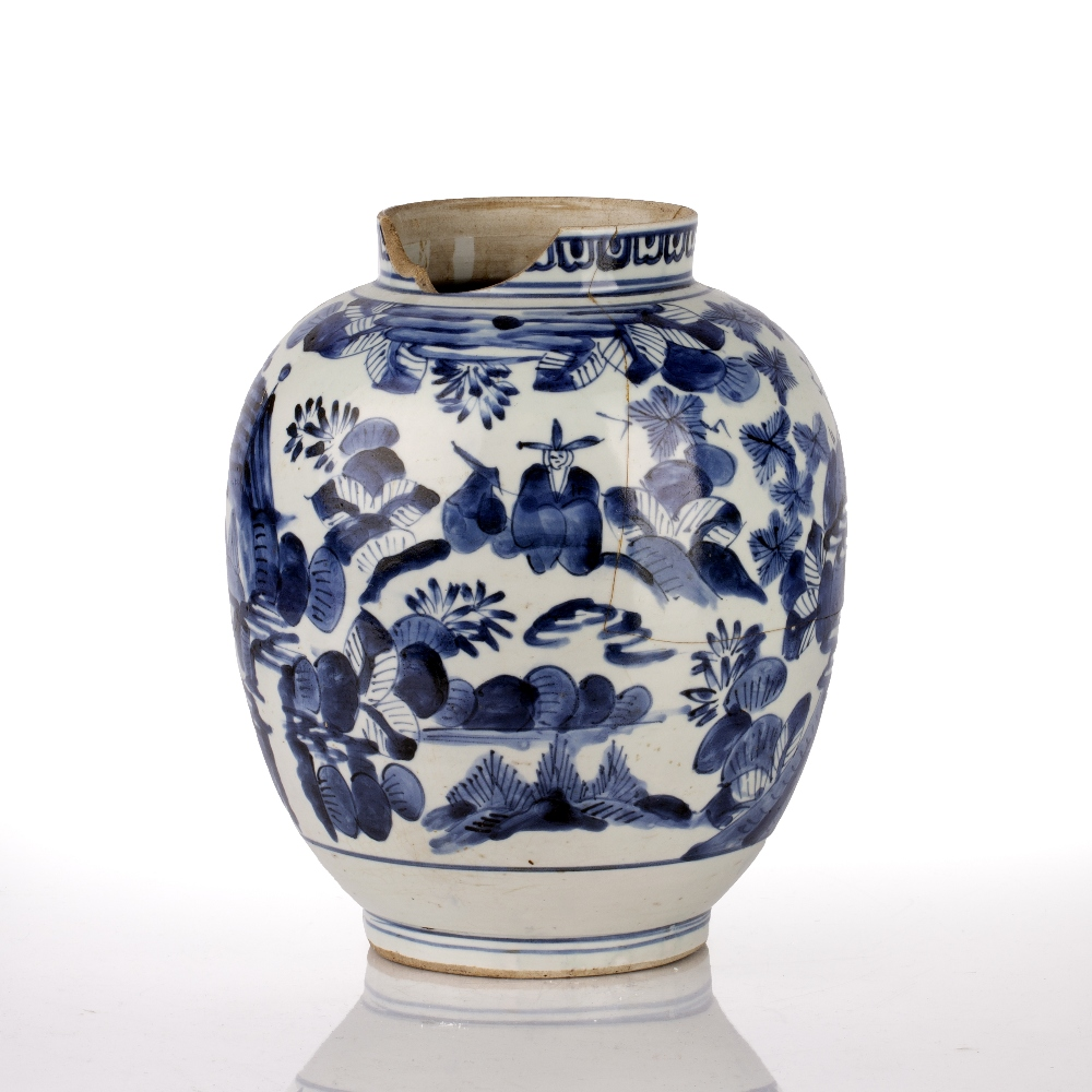 Arita blue and white jar Japanese, Edo period circa 1655-1670s decorated to the body with figures