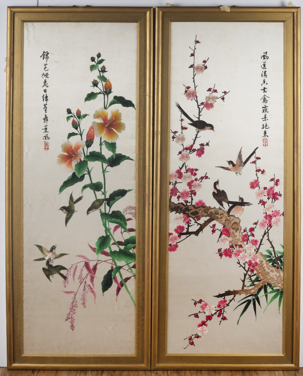 Set of four paintings on silk Chinese, 20th Century depicting birds on a flowering branch, with a - Image 2 of 3