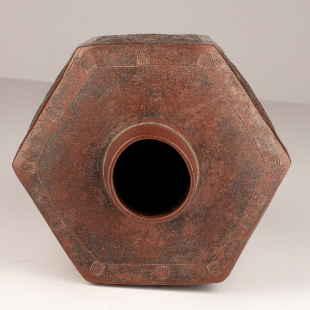 Yixing tea caddy Chinese of hexagon form, with each side modelled in relief with flowering tree - Image 4 of 4