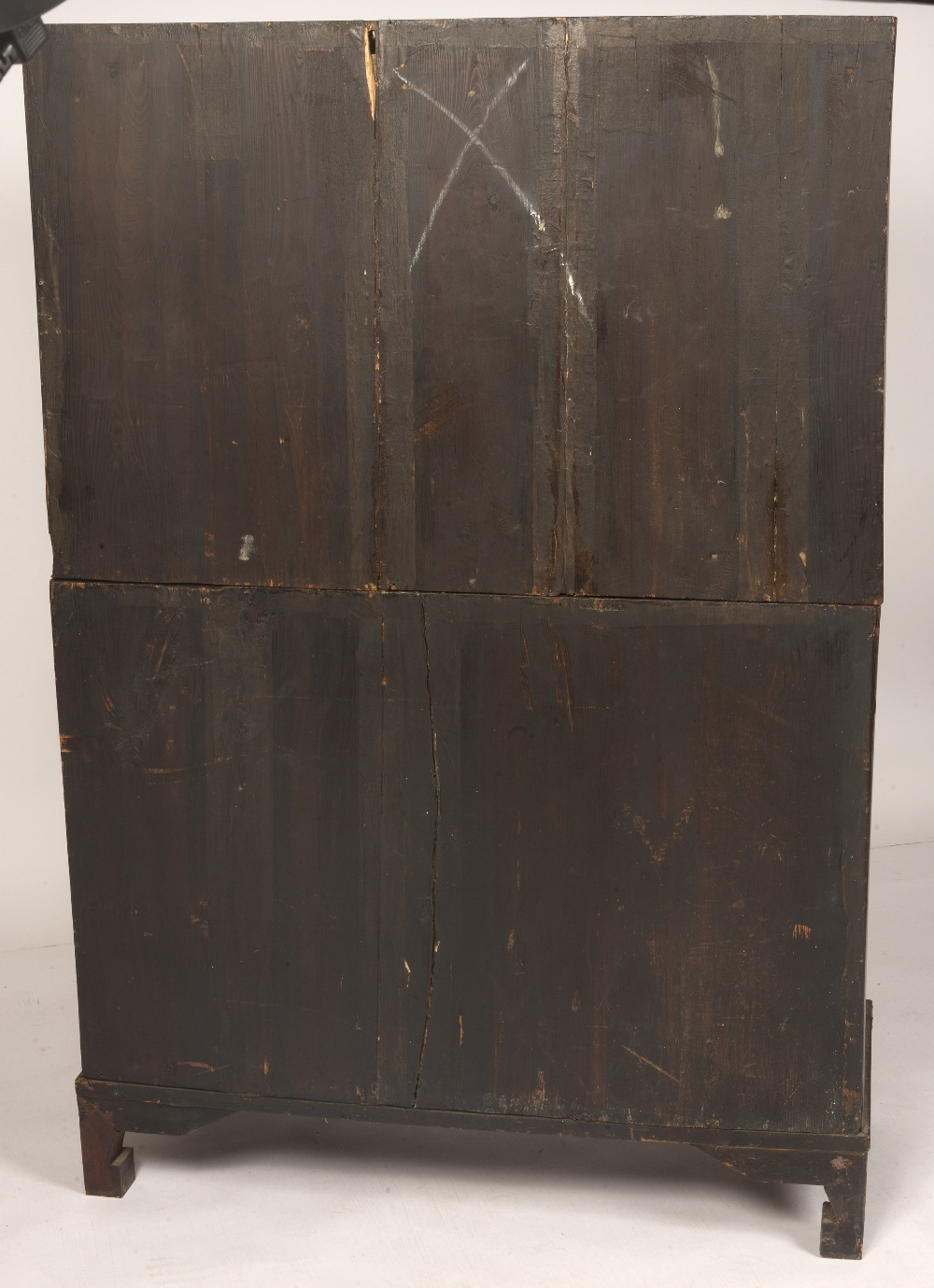 Two unit stacked chest (ich'ung nong) Korean, 19th Century with burl wood panel fronts and brass - Image 5 of 5