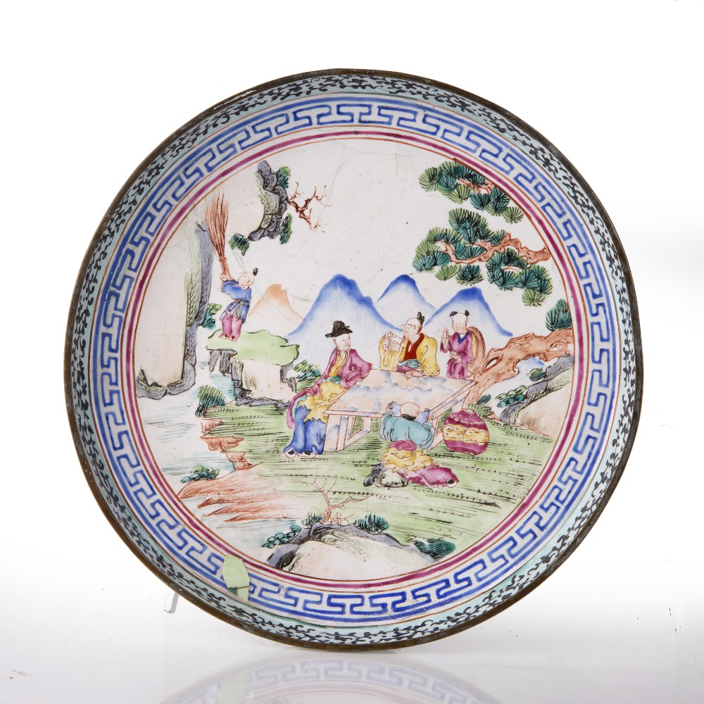 Painted enamel dish Chinese, 19th Century the dish decorated to the centre with scholars sat