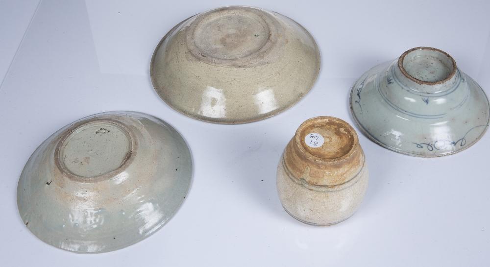 Sawankhaloke pottery bowl Thailand 24cm, a similar smaller bowl, 20.5cm, a Vietnamese vase, 10cm and - Image 2 of 3