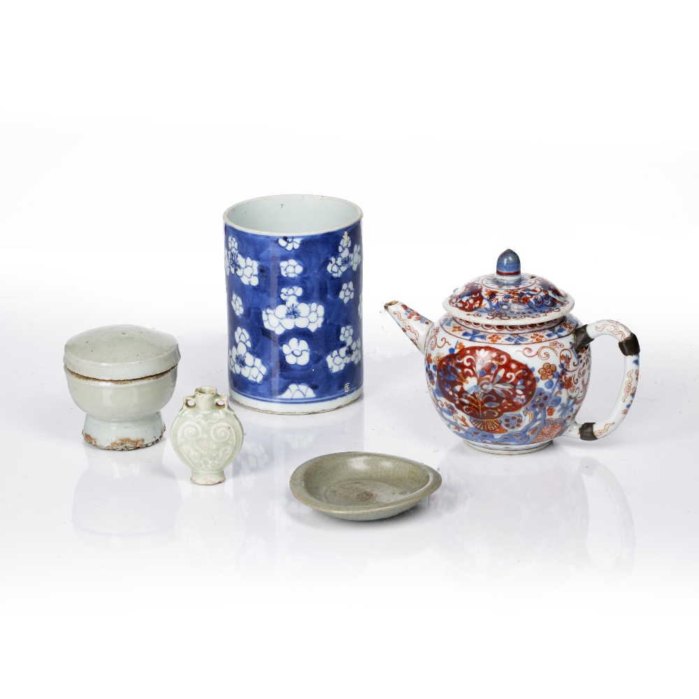 Blue and white prunus brush pot Chinese,19th Century 12.5cm high, three small pieces of celadon