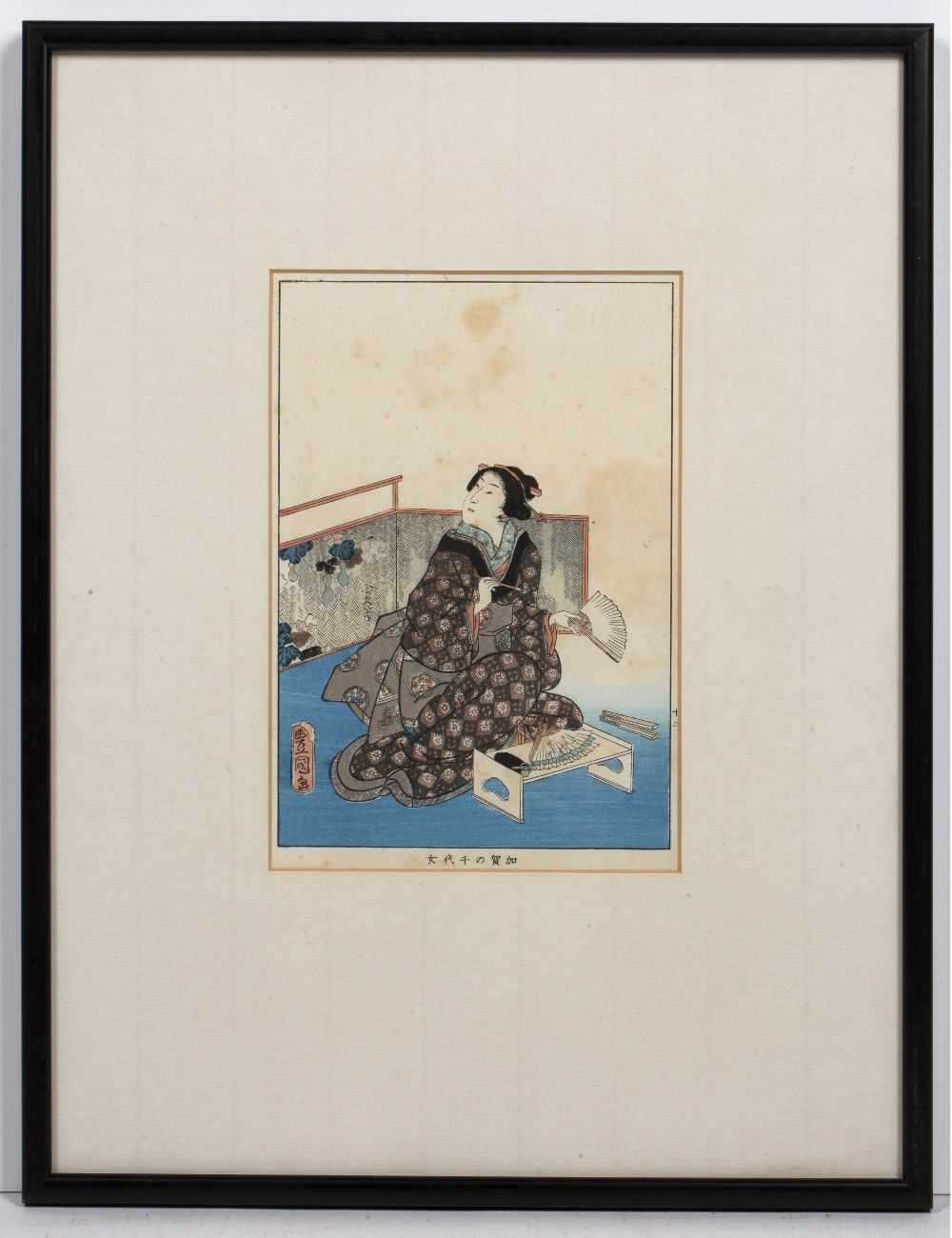 Two Japanese woodblock prints one with samurai in foreground, 35cm x 22cm and one other of a - Image 4 of 6
