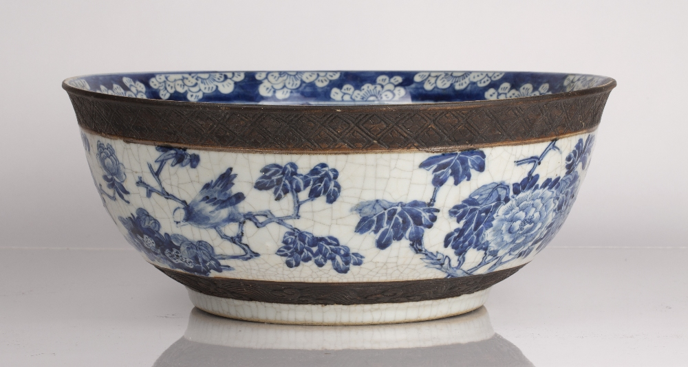 Crackleware blue and white punch bowl Chinese, 19th Century decorated to the exterior with flowering - Image 3 of 6