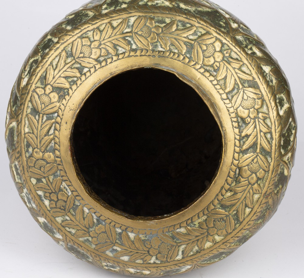 Qajar brass pot and cover Iran embossed with figures and animals and crescent finial, 30cm high - Image 5 of 5