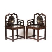 Pair of hardwood and marble armchairs Chinese, late 19th Century each with marble panel inset seats,