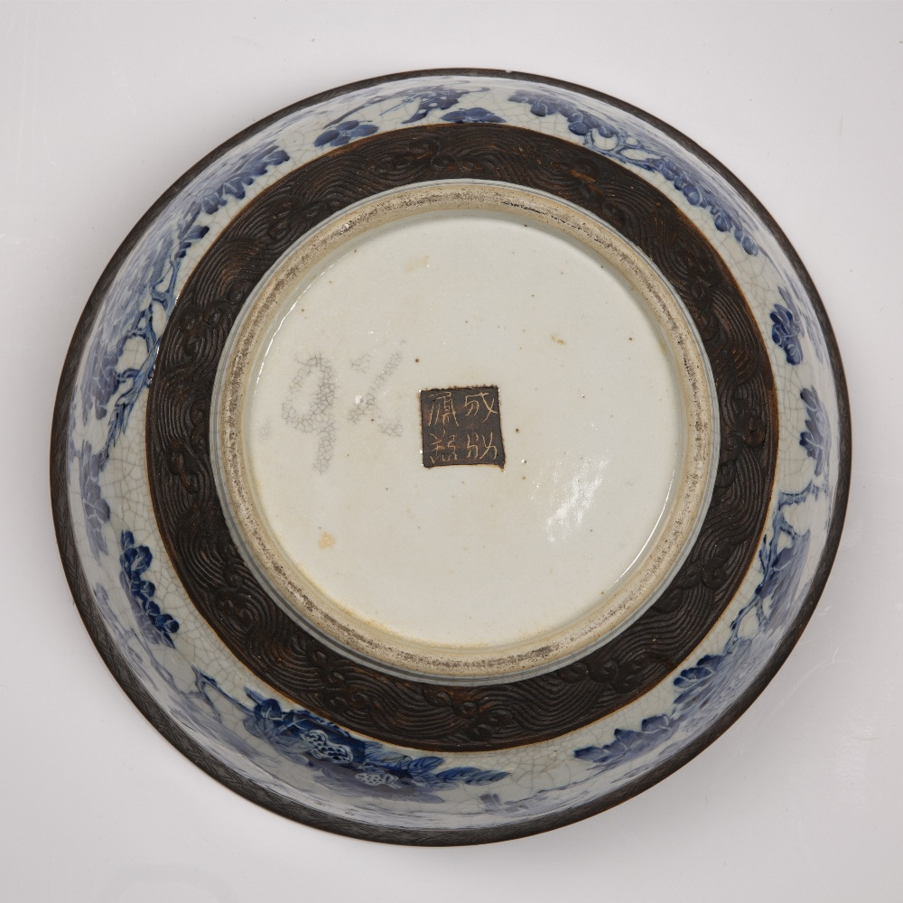 Crackleware blue and white punch bowl Chinese, 19th Century decorated to the exterior with flowering - Image 5 of 6
