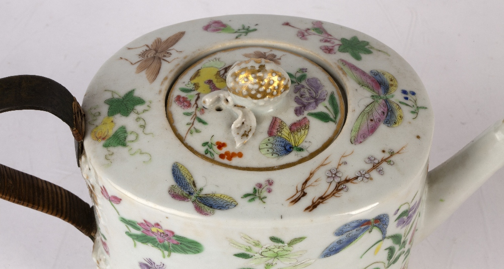 Famille rose teapot and cover Chinese, 19th Century decorated to the exterior with colourful - Image 3 of 4