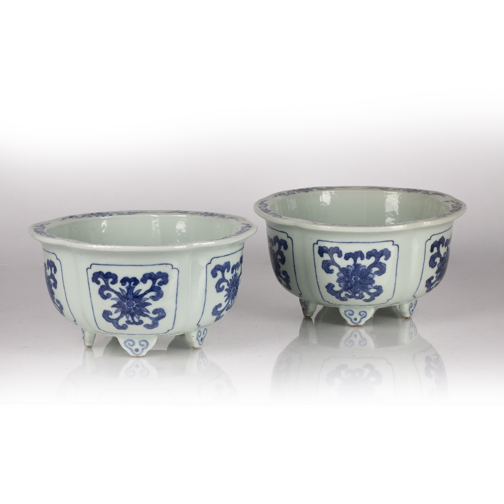 Fine pair of blue and white five lobed jardinieres Chinese, Yongzheng mark and period each lobe - Image 4 of 9