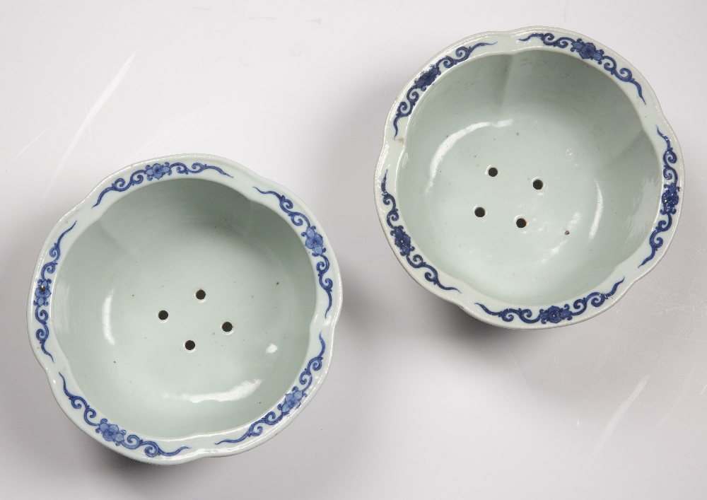 Fine pair of blue and white five lobed jardinieres Chinese, Yongzheng mark and period each lobe - Image 6 of 9