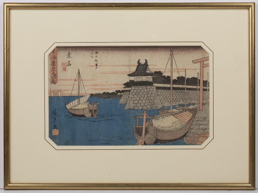 Ando Hiroshige (1797-1858) '53 stations of the Tokaido Road, No 43, Gyosho Toikaido, Sea Ferry - Image 2 of 3
