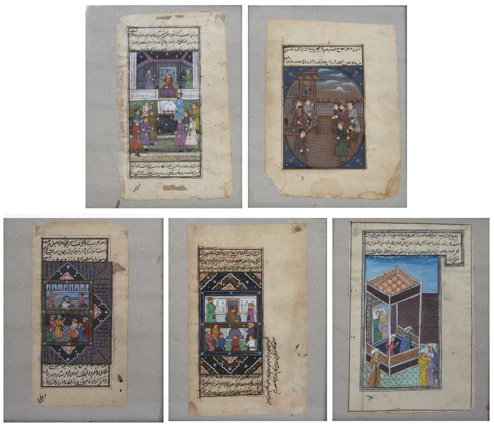 Five painted miniatures Indian depicting palace and other scenes, with calligraphy (5) Condition: