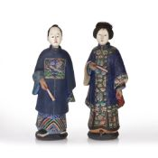 Pair of trade painted clay nodding head figures Chinese, 19th Century depicting a male and a