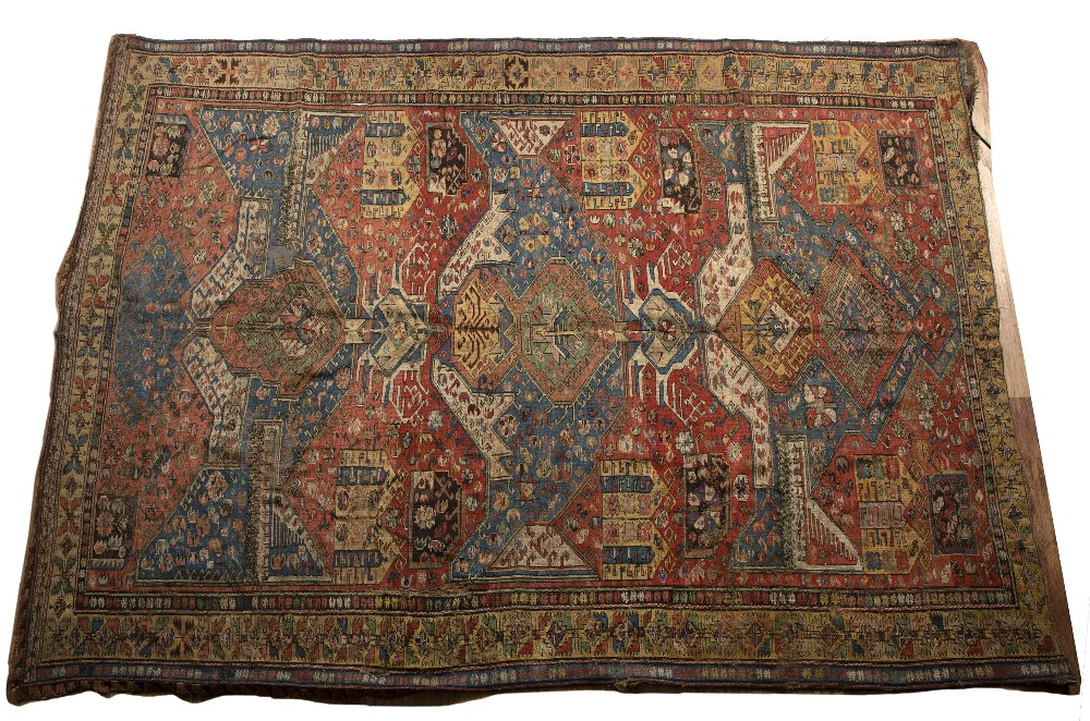 Soumak flat weave polychrome rug Caucasian, 19th Century or earlier of dragon design, with typical