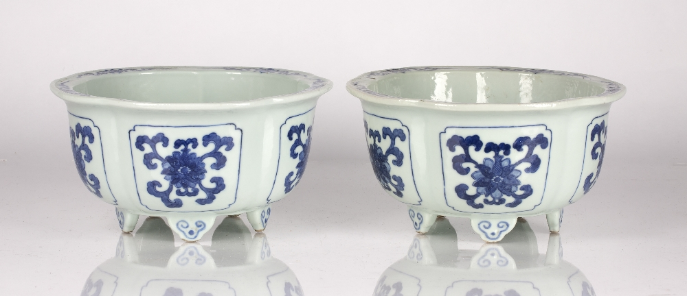 Fine pair of blue and white five lobed jardinieres Chinese, Yongzheng mark and period each lobe