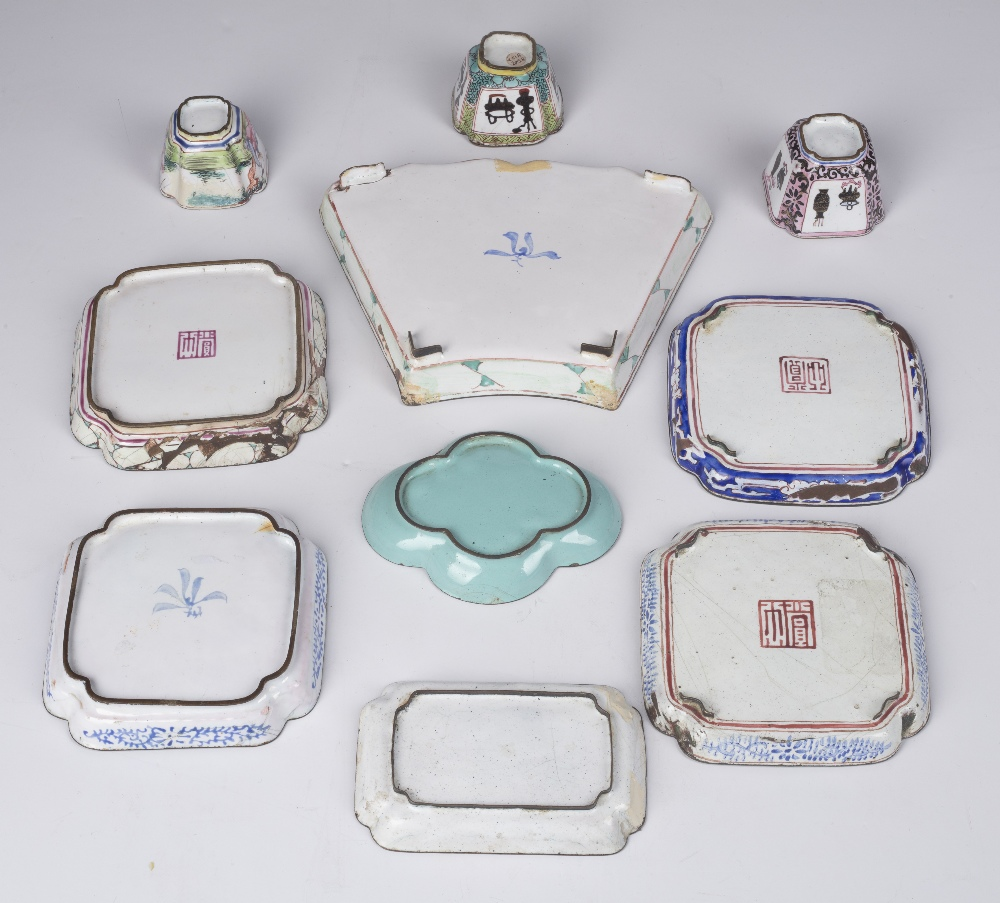 Collection of enamel pieces Chinese, 18th Century including small dishes and wine cups (10) - Image 2 of 3