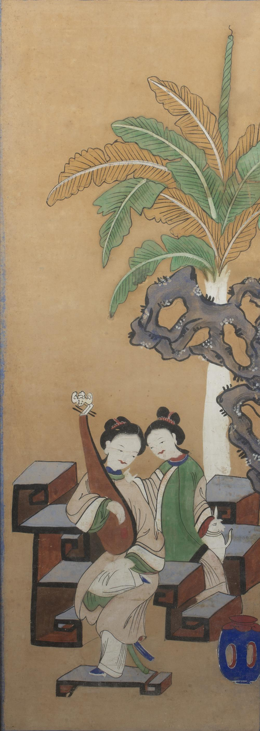 Four group court studies Chinese, 19th Century watercolour on paper of various poses and sizes,