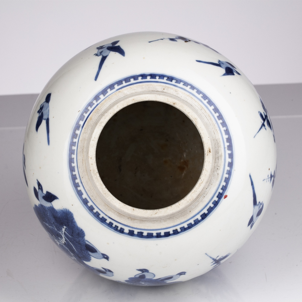 Blue and white jar Chinese, Kangxi period decorated to the exterior with birds perched on line - Image 4 of 4