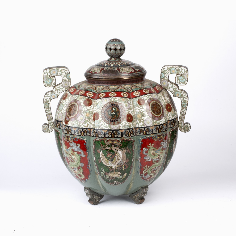 Large cloisonne enamel vase and cover Japanese, late 19th Century with multi-coloured panels of