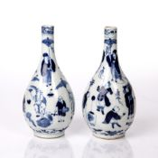 Pair of bottle vases Chinese, 19th Century decorated with figures holding umbrellas and fans, four