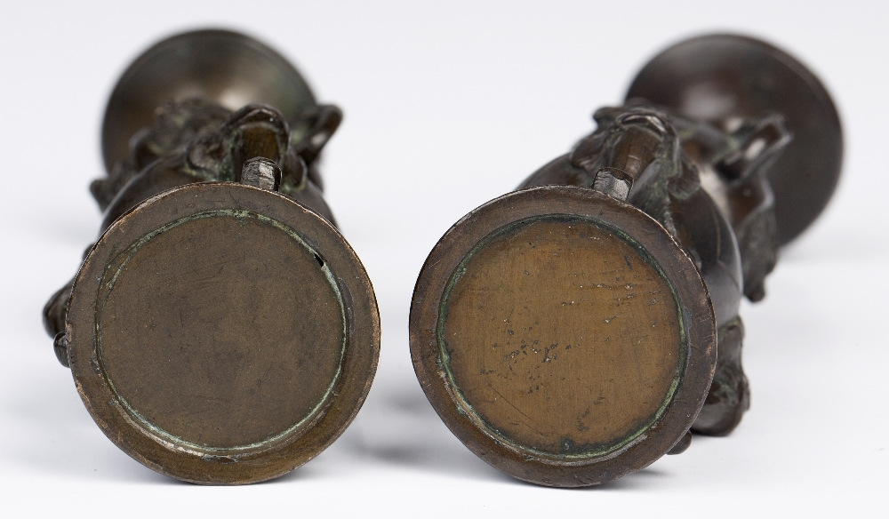 Pair of bronze miniature pricket candle sticks Japanese, Meiji period formed as a slender double - Image 3 of 3