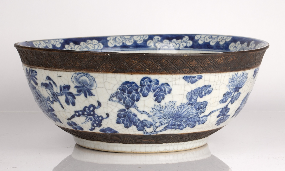 Crackleware blue and white punch bowl Chinese, 19th Century decorated to the exterior with flowering - Image 2 of 6