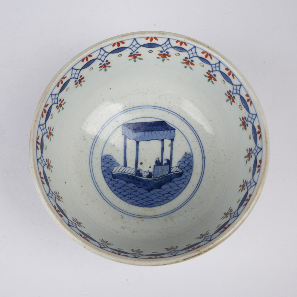 Arita porcelain bowl Japanese, 19th Century painted to the centre with a ceremonial barge, and - Image 5 of 5