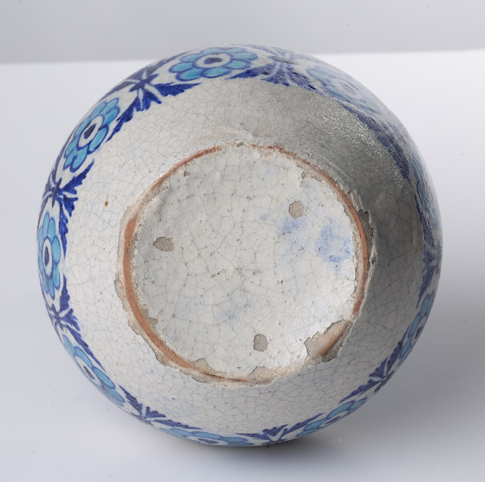 Kashmiri vase Indian with bands of blue and turquoise foliate designs, 25cm high Condition: firing - Image 3 of 3