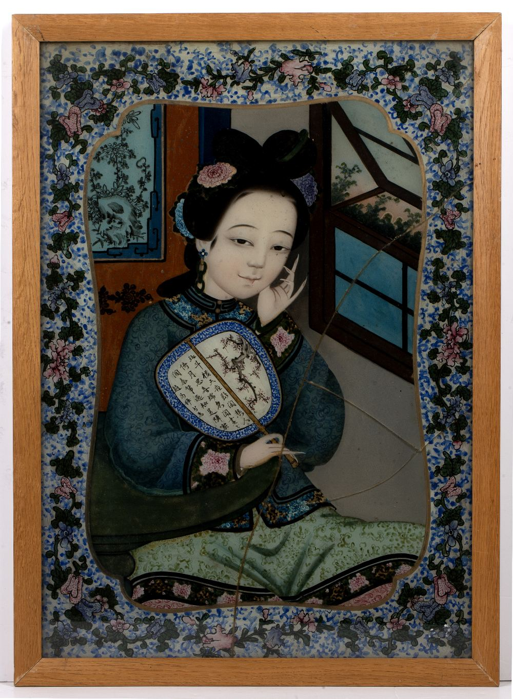 Export reverse painting on glass Chinese, circa 1858 depicting a court beauty Note-the identical - Image 2 of 3