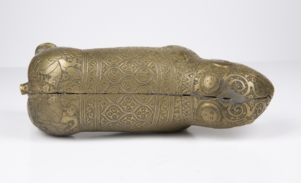 Safavid style bronze model of an elephant Iran, 18th Century engraved to the body with an hunting - Image 4 of 5