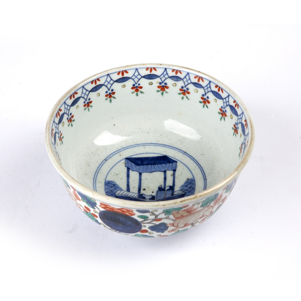Arita porcelain bowl Japanese, 19th Century painted to the centre with a ceremonial barge, and - Image 2 of 5