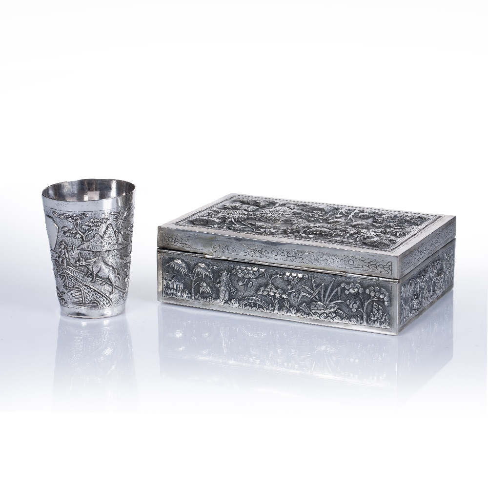 """White metal box Vietnamese embossed with bridges, fishermen and buildings to each side, impressed """" - Image 2 of 3"""