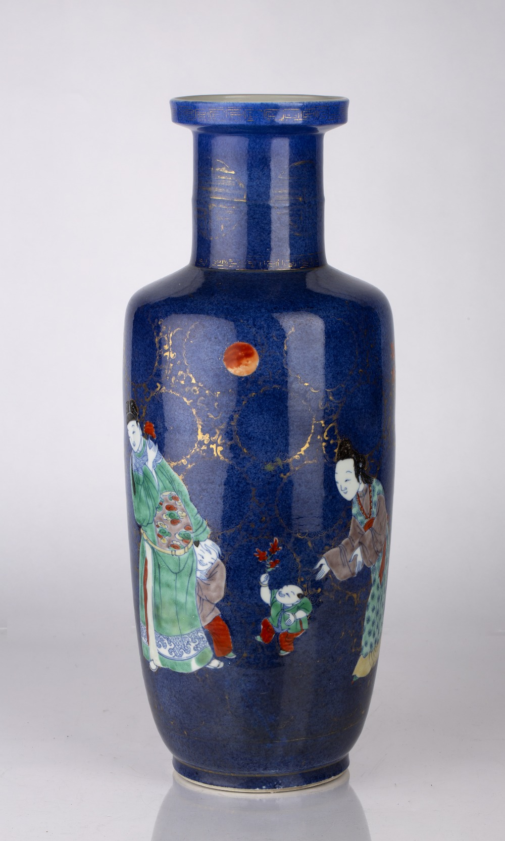Powder-blue ground rouleau vase Chinese, Kangxi period (1662-1722) decorated in colourful enamels - Image 3 of 6