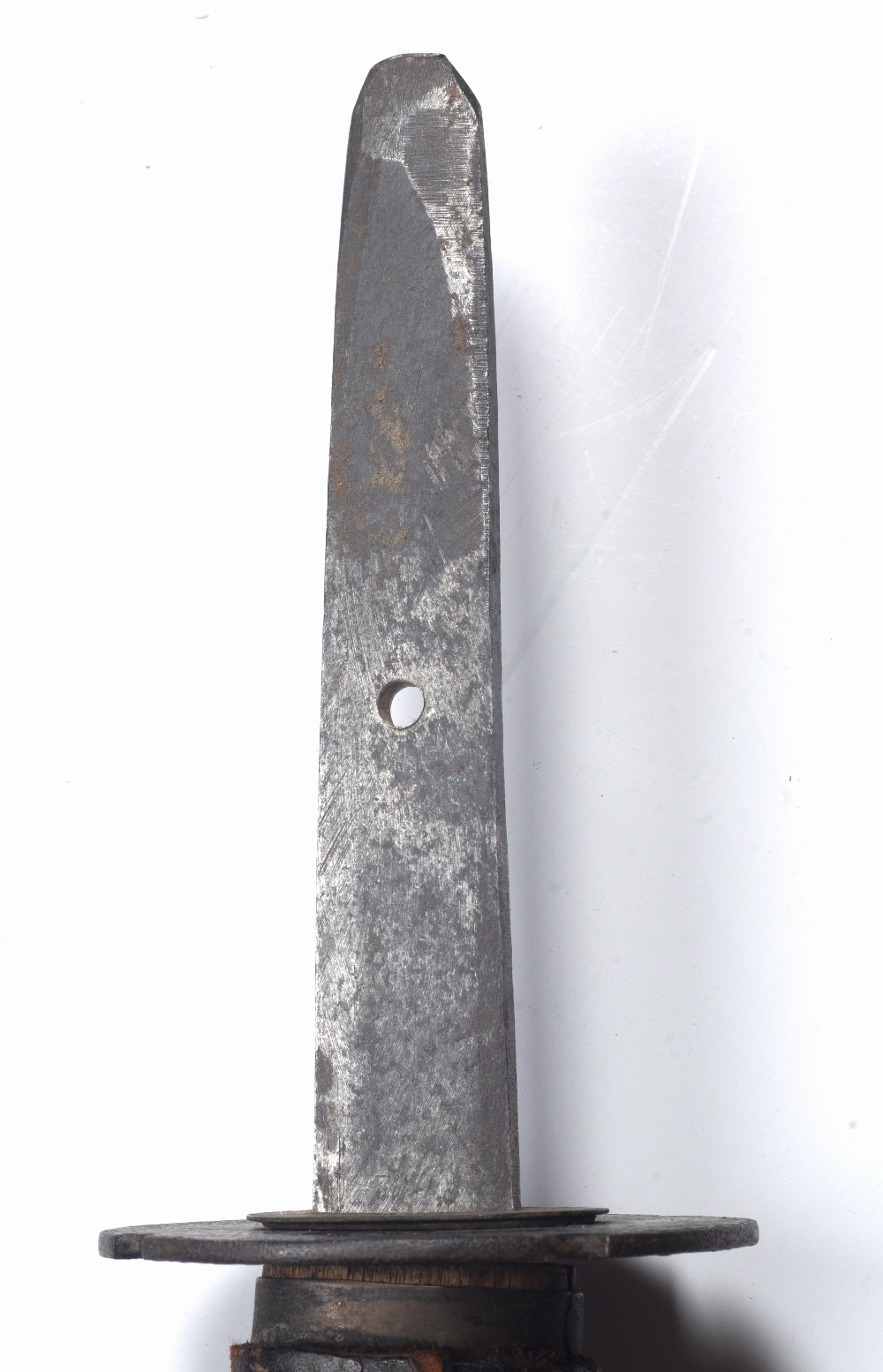 Katana sword Japanese, late WWII period with a plain tsuba and leather scabbard 98cm across - Image 3 of 3