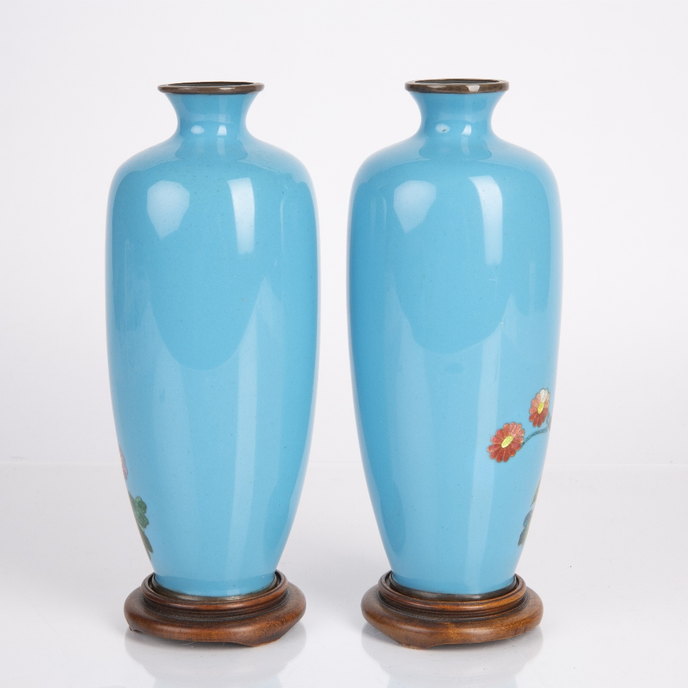 Pair of Ginbari enamel vases Japanese, Meiji period each of blue ground decorated with flowers, - Image 2 of 3