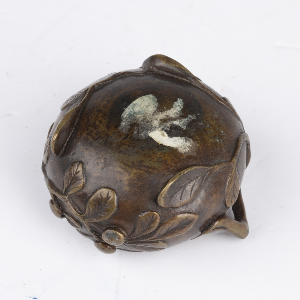 Scholars miniature bronze brush washer Chinese, Ming period (1368-1644) cast to the exterior with - Image 5 of 5