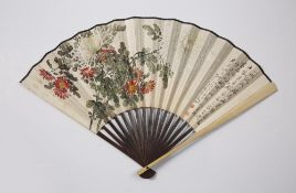 Painted fan Chinese, 20th Century painted with flowering blossoms to one side on the left, to the
