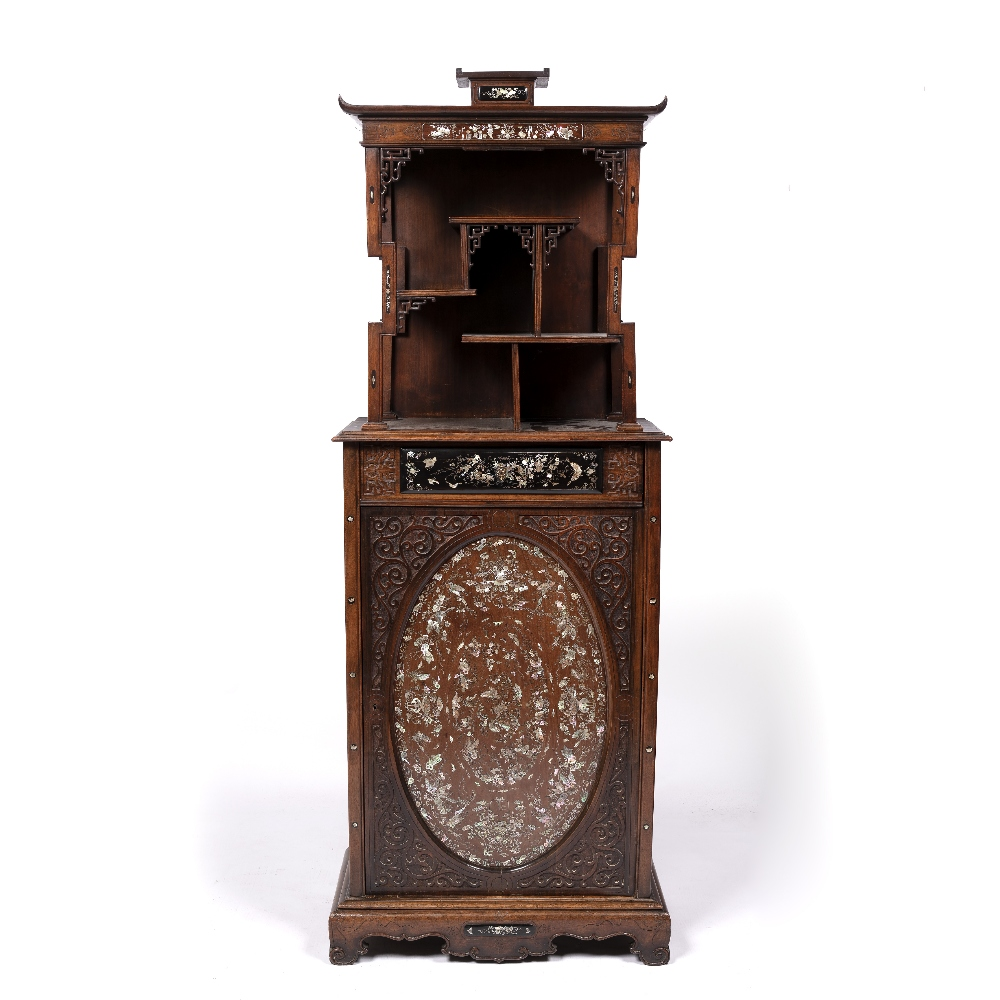 Inlaid hardwood cabinet Chinese, 19th Century with raised back inlaid with mother of pearl and