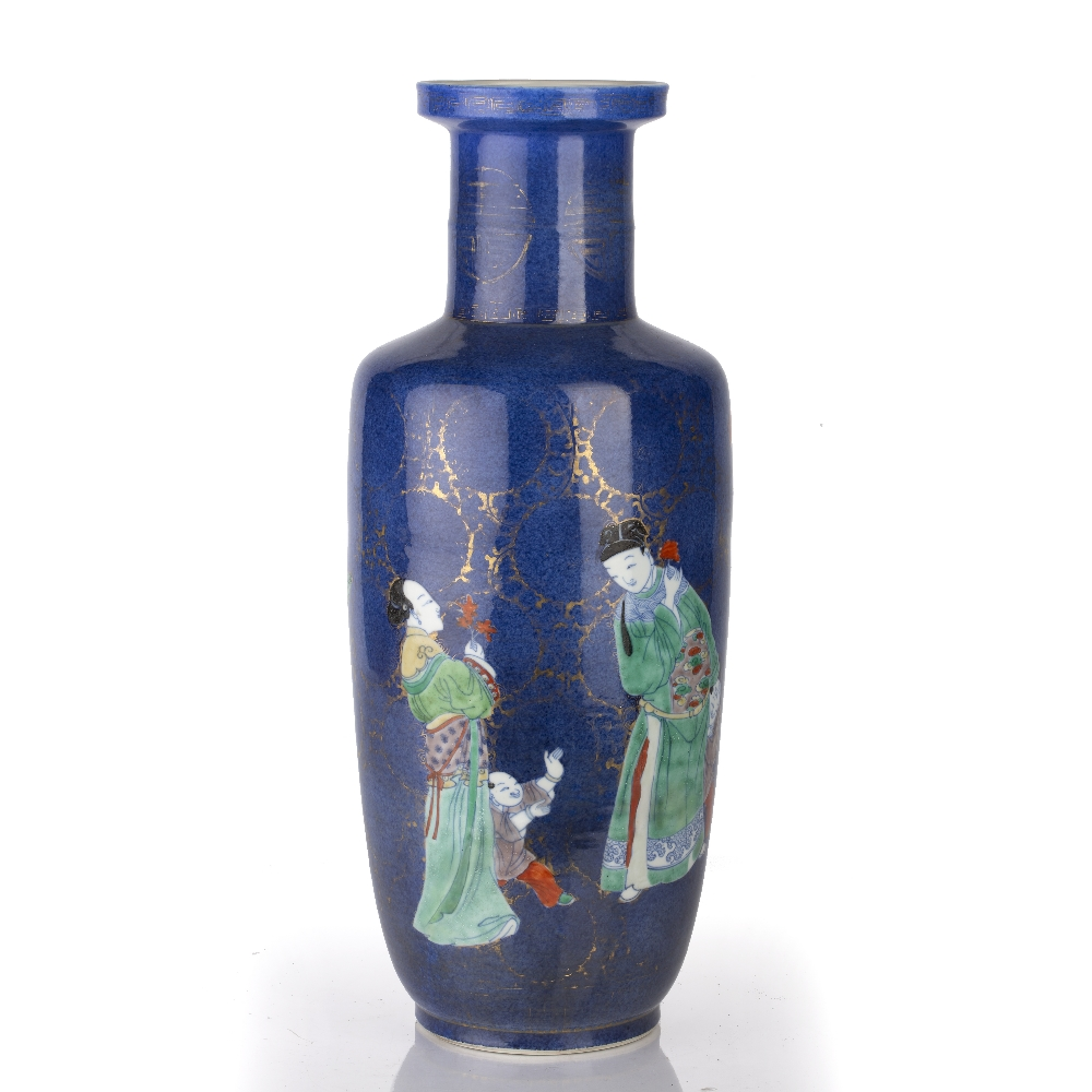 Powder-blue ground rouleau vase Chinese, Kangxi period (1662-1722) decorated in colourful enamels - Image 2 of 6