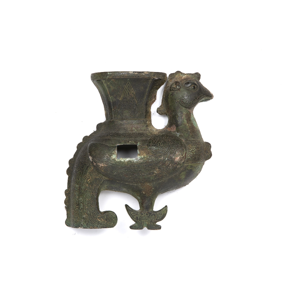 Bronze model of a phoenix Chinese with stylized symbols over the body, 13.5cm high Provenance: