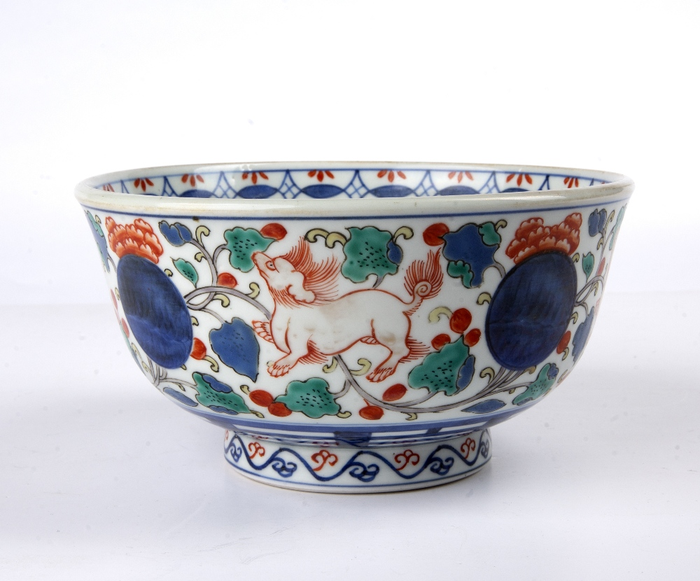 Arita porcelain bowl Japanese, 19th Century painted to the centre with a ceremonial barge, and - Image 3 of 5