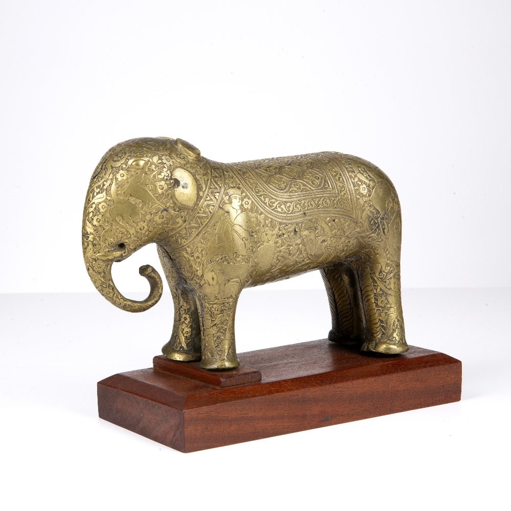 Safavid style bronze model of an elephant Iran, 18th Century engraved to the body with an hunting