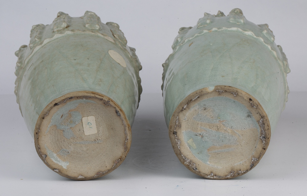 Pair of Yueyao-style funerary vases Chinese, Song dynasty with moulded decoration to the neck - Image 4 of 4