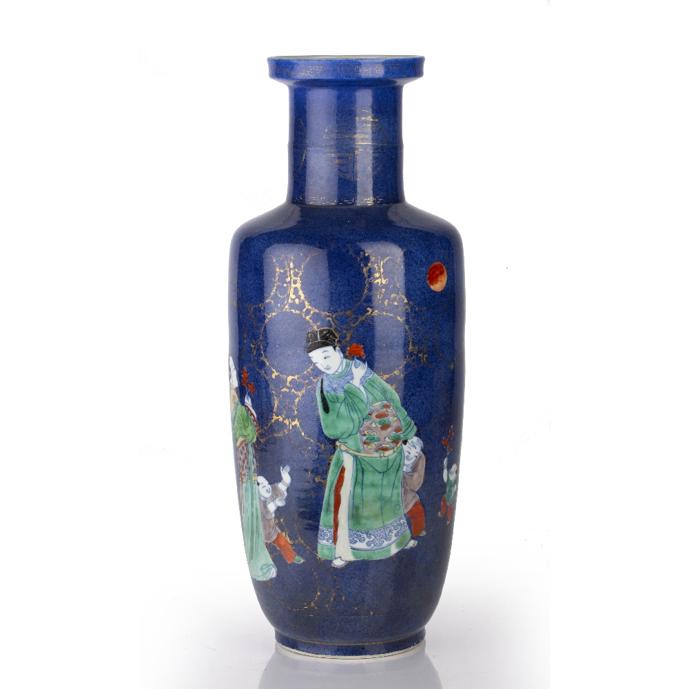 Powder-blue ground rouleau vase Chinese, Kangxi period (1662-1722) decorated in colourful enamels