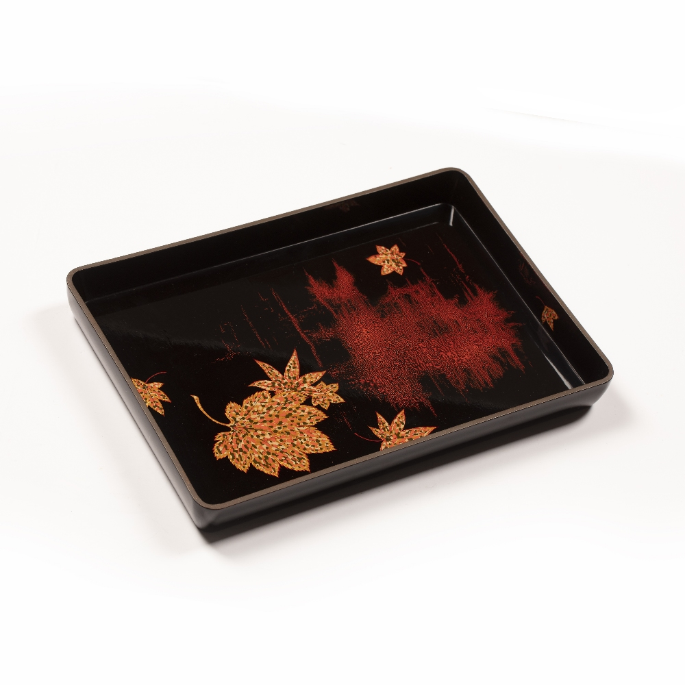 Black lacquer tray Japanese with leaf decoration, 31cm x 22cm in a fitted case Condition: box with