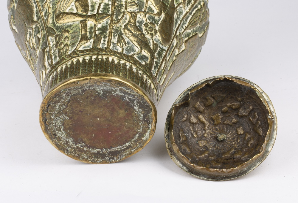 Qajar brass pot and cover Iran embossed with figures and animals and crescent finial, 30cm high - Image 4 of 5