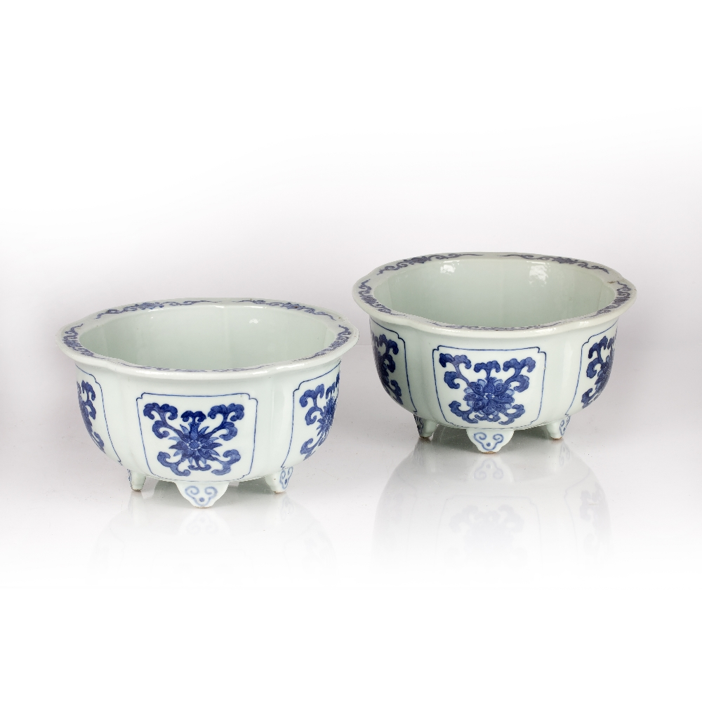 Fine pair of blue and white five lobed jardinieres Chinese, Yongzheng mark and period each lobe - Image 2 of 9