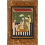 Seated figure miniature Indian, Sikh school depicting two attendants with a seated figure, with a