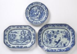 Two blue and white octagonal meat dishes Chinese, 18th/19th Century decorated to the outside of both